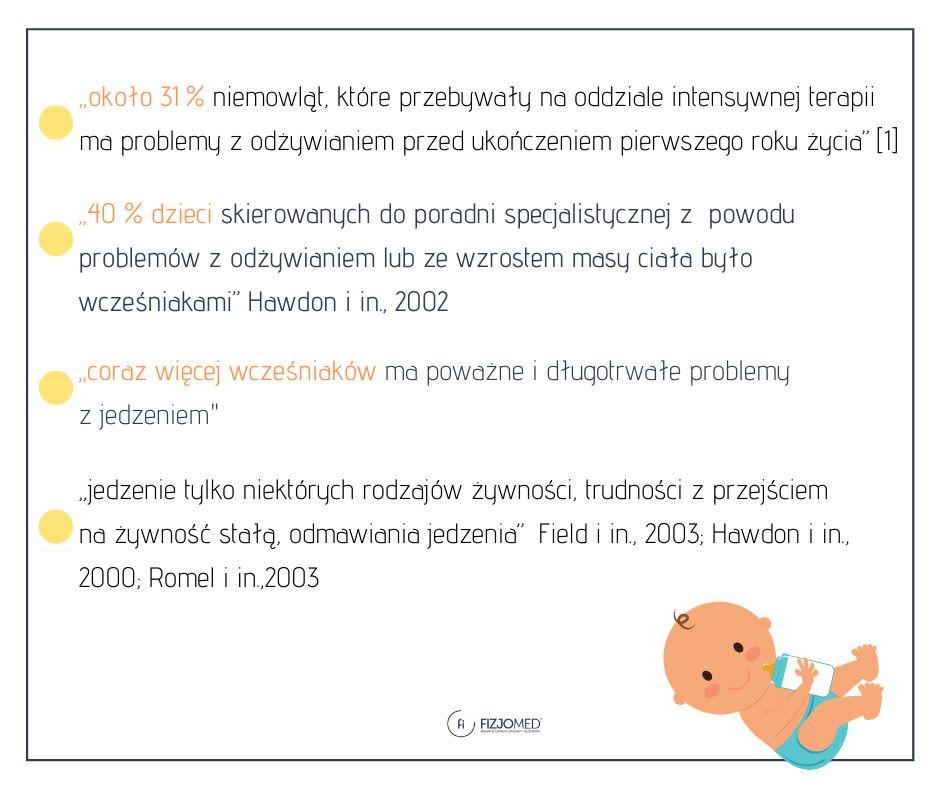 statystyka problemów z karmieniem wcześniaka